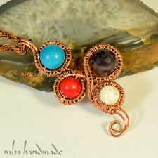 Turquoise & Coral & Amethyst & Moonstone Gemstone Copper Wire Wrapped Pendant