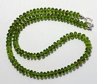 Exklusive Peridot Kette,edelsteinkette Olivin Grün Rondell Collier AAA Qualität