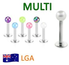 1 x Monroe Ab Multi Luminous Ball Top Monroe 16g Lip Labret Body Jewellery