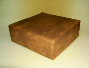 Seat Cushion in Premium  Tan Faux Leather With Blue Firm Foam