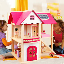Children Play Pretend  Huge Doll House Wooden Furniture Dollhouse Toys Gift Set