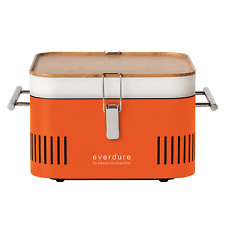 Everdure by Heston Blumenthal CUBE PORTABLE CHARCOAL BARBEQUE Bamboo Tray ORANGE