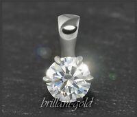 Diamant Brillant 585 Gold Anhänger 0,53 ct, Top Wesselton, Si; 14 Karat Weißgold