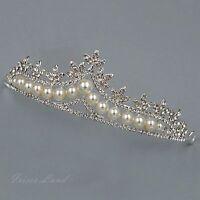 Pearl Clear Crystal Rhinestone Tiara Crown Bridal Wedding Party Pageant 9523 New