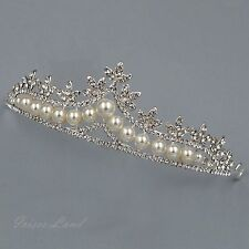 Pearl Clear Crystal Rhinestone Tiara Crown Bridal Wedding Party Pageant 9523 New