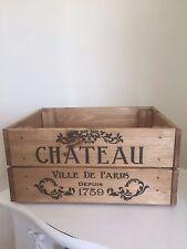Vintage Style  Wooden Chateau Paris 1759 Champagne Wine Crate Box Storage