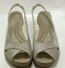 CROCS Womens US 8 Dual Comfort Wedge Sandal Beige and Silver Shoes