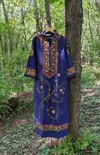 60s Vtg Embroidered Maxi Dress Caftan Hooded  Cotton India Boho Hippie L NOS 70s