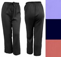 Womens New Black Wide Leg Trousers Comfort Fit 16 18 20 22 24 26 28 30 32 34 36