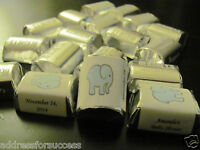 60 Personalized Baby Elephant Baby Shower Candy Hershey Nugget Labels Wrappers