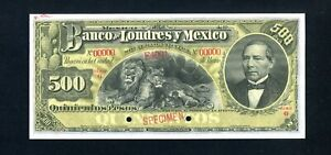 Mexico S238 Specimen 500 Pesos 1913, Uncirculated, 99c NO RESERVE