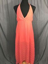 Angie Coral Orange Long Sheer Overlay Accordian V-Neck Halter Dress L NEW