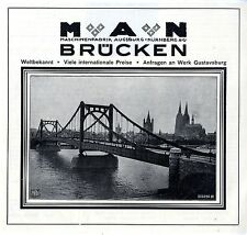 M A N Brücken Maschinenfabrik Augsburg- Nürnburg Köln- Brücke Histor.Annonce1928