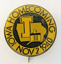 "1940 UNIVERSITY OF IOWA HOMECOMING football 1.75"" pinback button ^"