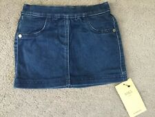 M&S BLUE DENIM SKIRT WITH A-LINE SHAPE AND ADJUSTABLE WAISTBAND - 9-12m - BNWT