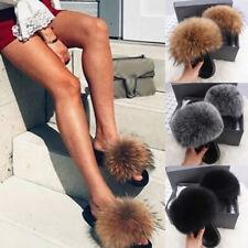 Damen Kunstpelz Hausschuhe Flauschig Plüsch Sandalen Sommer Slippers Pantoffeln