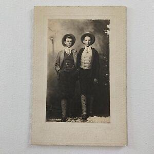 Antique Cabinet Card Photograph Handsome Man Men Affectionate Gay Int ID Davis