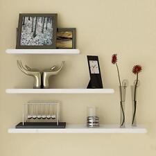 New 3pcs Floating Wall Mount Shelf Set High Gloss Wood Display Bookshelf Kit AU