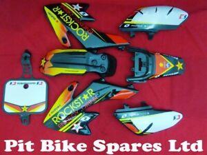 Pit Bike Rockstar Graphics Kit Fitted To Black CRF50 Plastics. Type 2
