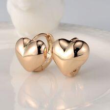 Lovely Heart Earrings 18k Yellow Gold Filled Charm Hoop Huggie GF Women Jewelry