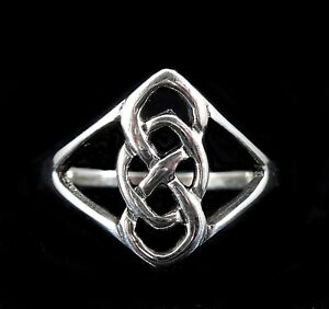 Handcrafted Solid 925 Sterling Silver Celtic Knot DOUBLE INFINITY Band Ring