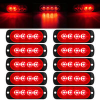 10pcs Red 4-LED Car Truck Emergency Beacon Warning Hazard Flash Strobe Light 12V