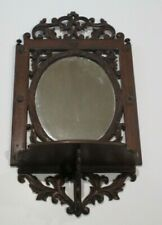 ANTIQUE ORNATE MIRROR WITH ALTER STAND TABLE WOOD CARVING FRAME SCULPTURE OLD
