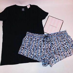Victoria Secret Pajama Set Large Top & XL Bottom T Shirt Shorts Blue Black Sleep