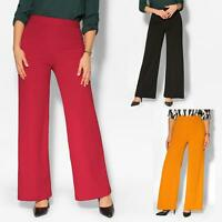 Women High Waist Stretch Long Flared Wide Leg Palazzo Ladies Party Trouser Pants