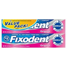 New Fixodent Complete Original Denture Adhesive Cream 2.4 Oz Twin Pack