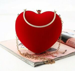 Red Heart Design Evening Bags  for Party & Wedding Handbags Purse for female