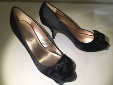ee5cd4c4bd41 Women s White House Black Market Rachel Black Satin Peep Toe Heels Shoe 9.5  M.