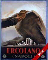 ERCOLANO NAPLES ITALYITALIAN 1930 TRAVEL POSTER PAINTING ART REAL CANVAS PRINT