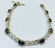 "Sterling Sapphire/Diamond Tennis Bracelet, Sapphire/Diamond Accent 7.5"" Bracelet"