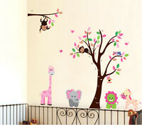 Large Monkey Owl animal tree Wall art decal Removable sticker decor kids nursery