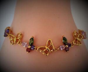 18k Gold layered Multi-Color Butterfly Sapphire Bracelet  BB000