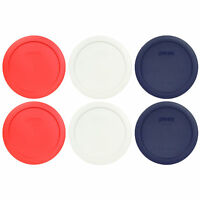 Pyrex 7201-PC 4 Cup (2) Red, (2) White, (2) Blue Round Plastic Lid Covers 6PK