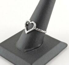 Sterling Silver Open Heart Rope Ring - Free Gift Packaging