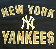 New York Yankees Logo T Shirt L Large EUC MLB Baseball Blue Fanatics INV278