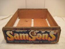 OLD VINTAGE WOOD-WOODEN SAM SONS GRAPE PLUM FRUIT FARM CARRIER BOX CRATE