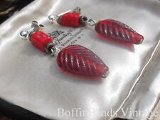 Vintage RED LEAf EARRINGS ethnic Africa Trade pressed Czech dice beads GIFT .925