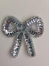 Silver Sequin & Bead Bow Appliqué Motif
