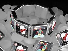 Retro Toy Spaceship Rocket Ship Sci-fi Fantasy Silver Bangle Charm Bracelet USA