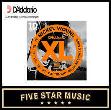 D'ADDARIO EXL110 10 PACK ELECTRIC GUITAR STRING SETS 10-46 NEW DADDARIO XL110