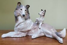 Lladro Collie With Puppy Figurine 06459 w/Box (#373)