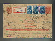 1942 Kokand Russia USSR Censored Postcard Cover to Seattle USA