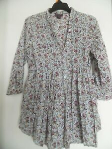 fire los angeles Blue Floral Pleated Pintuck Rolltab Peasant Style Top L