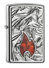 ZIPPO Feuerzeug Soft Zippo Flame Emblem chrom satin mit schwerer Platte 2005095