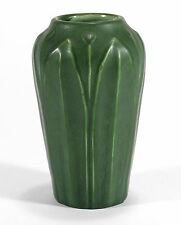 Hampshire Pottery leaf & bud design vase matte green glaze arts & crafts