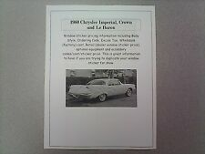 1960 Chrysler IMPERIAL factory cost/dealer sticker prices for car & options $ 60